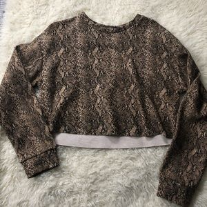 Zara snakeskin patterned crop sweatshirt